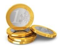 Stapel ein-Euro-Münzen lizenzfreie abbildung