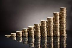 Stapel ein-Euro-Münzen Stockfoto