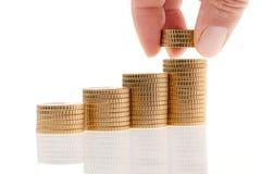 Stapel euro muntstukken Stock Fotografie