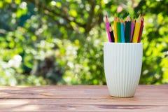 Stapel farbige Bleistifte in einem Glas auf grünem natürlichem Hintergrund Stockbild