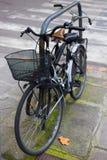 Stapel fietsen dichtbij de fietssteeg die worden geparkeerd Royalty-vrije Stock Foto
