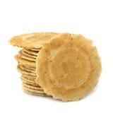 Stapel Geïsoleerdee Crackers Royalty-vrije Stock Foto