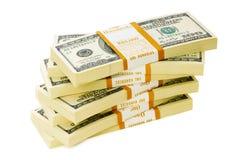 Stapel geïsoleerdee dollars royalty-vrije stock afbeelding