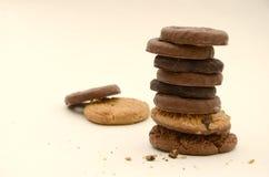 Stapel Geassorteerde Chocoladekoekjes Stock Foto's