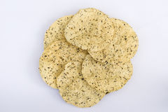Stapel gebratenes masala papad Stockfotos