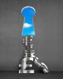 Stapel geldsymbolen met zeer belangrijke vormdeur en ladder Royalty-vrije Stock Foto