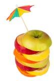 Stapel geschnittene Frucht mit Stroh von oben Stockfotos