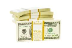 Stapel geïsoleerden dollars Stock Fotografie