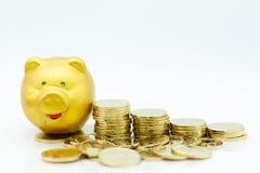 Stapel Goldmünzen mit einem Sparschwein Bildgebrauch für spart Geld während der Zukunft, Geschäftskonzept Lizenzfreies Stockbild