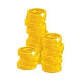 Stapel gouden euro geïsoleerd beeldverhaal Stock Foto's