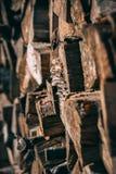 Stapel hölzerne Stücke mit Pilzen lizenzfreies stockfoto