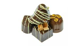 Stapel handgemachte Schokoladen stockfoto