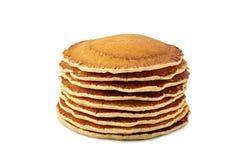 Stapel heiße Pfannkuchen auf weißem Hintergrund lizenzfreies stockbild