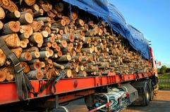 Stapel Holz auf einem Schlussteil. Lizenzfreie Stockfotografie