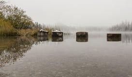 Stapel im Herbstsee Lizenzfreies Stockbild