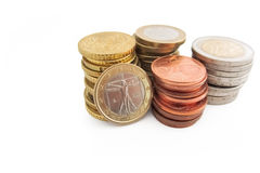 Stapel italienische Euromünzen Stockbilder