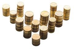 Stapel kleine Münzen/Polnischgeld auf dem weißen Hintergrund Stockfotografie