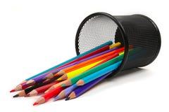 Stapel kleurpotloden Stock Afbeeldingen