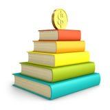 Stapel kleurrijke die boeken met muntstuk op de bovenkant op witte B wordt geïsoleerd Royalty-vrije Stock Fotografie
