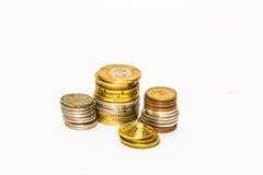 Stapel Münzen der Länder des Makro der Europäischen Gemeinschaft Stockfotografie