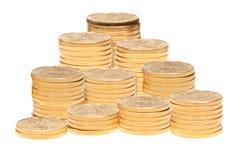 Stapel Münzen des goldenen Adlers Stockfoto