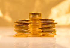 Stapel Münzen des goldenen Adlers Lizenzfreie Stockfotografie