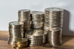 Stapel Münzen des Schweizer Franken Lizenzfreie Stockbilder