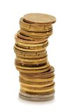 Stapel Münzen getrennt worden lizenzfreies stockbild