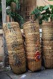 Het afvalmanden van het bamboe stock afbeeldingen