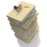 Stapel Manilla bureauomslagen of dossiers op witte B Royalty-vrije Stock Foto's