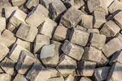 Stapel met oude cobble stenen Stock Fotografie