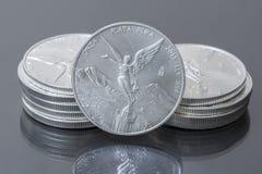 Stapel mexikanische silberne Goldmünzen Stockfotografie