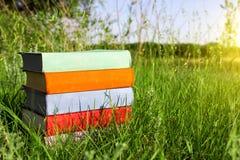 Stapel multicolored boeken op het groene gras op de achtergrond van mooie die aard door weiden bij zonnige dag wordt omringd stock foto