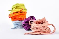 Stapel multicolored schoenkant Royalty-vrije Stock Foto's