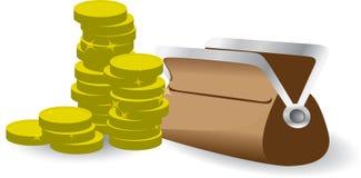 Stapel muntstukken met beurs Royalty-vrije Stock Foto