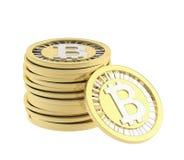 Stapel muntstukken van de bitcoinmunt Stock Afbeeldingen
