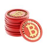 Stapel muntstukken van de bitcoinmunt Stock Foto's