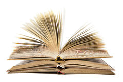 Stapel open boeken op een witte achtergrond Stock Afbeelding