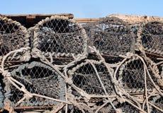 Stapel oude zeekreeftpotten Royalty-vrije Stock Foto
