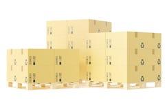 Stapel Papplieferungskästen für Pakete auf Palette Lagerkonzepthintergrund Wiedergabe 3d Lizenzfreies Stockbild