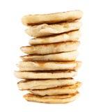 Stapel Pfannkuchen lokalisiert Stockfotografie