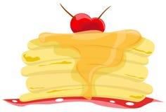 Stapel Pfannkuchen mit Sirup Stockbild