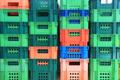 Stapel Plastic Container Stock Foto's