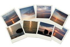 Stapel Reisenfotos mit Sonnenaufgängen und Sonnenuntergängen Lizenzfreie Stockfotos
