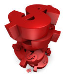 Stapel Rode Dollars Royalty-vrije Stock Foto's