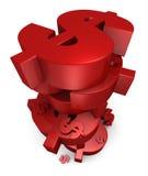 Stapel Rode Dollars Stock Illustratie