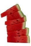 Stapel rode watermeloenplakken Stock Afbeeldingen