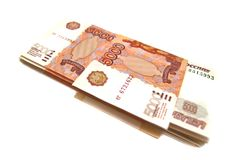 Stapel russische Geldbanknoten stockbilder