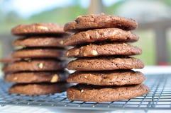 Stapel süßen Schokolade des Doppelten der halb und des weißen Schokoladenplätzchens Stockbilder