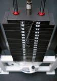Stapel schwarzes Gymnastikeisen belastet 5-80 Kilogramm Lizenzfreie Stockfotos